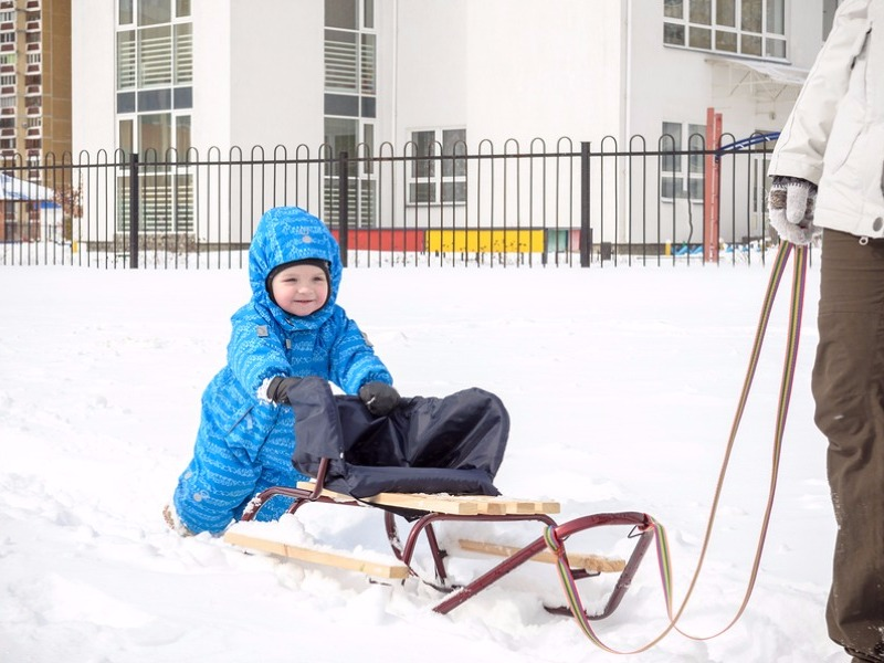 Toddler pushing sled