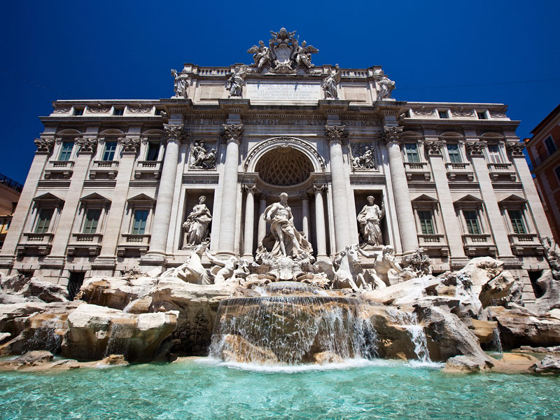 trevi fountain coins once