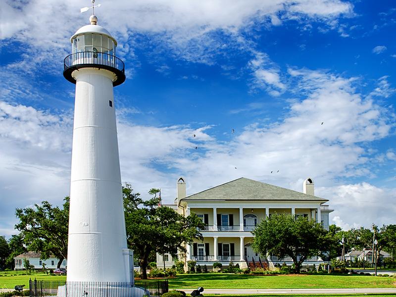 Historic lighthouse landmark and welcome center, Biloxi