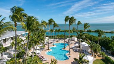 An aerial view of the pool at Hawks Cay Resort