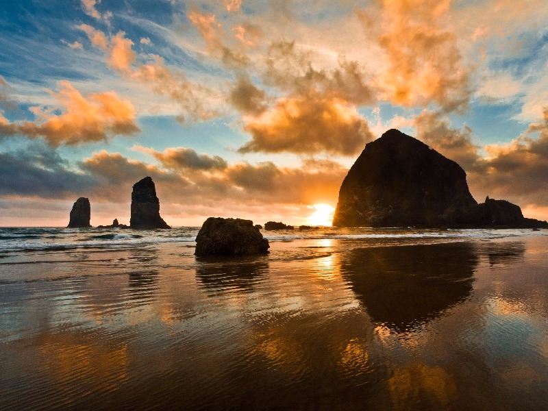 Haystack Rock at sunset, Cannon Beach