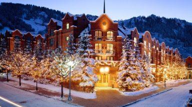 Snow covers the castle-like St. Regis Aspen Resort in Colorado