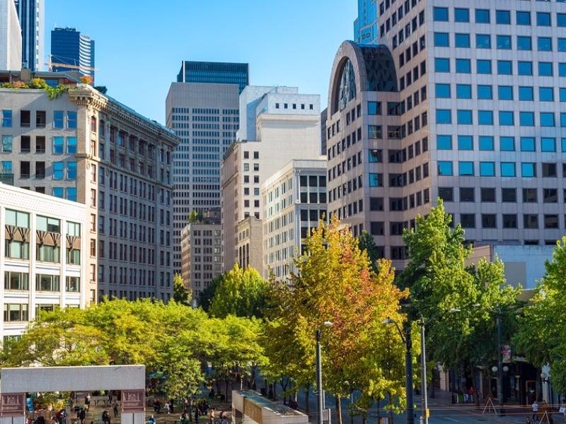 Seattle Washington Westlake Park In The Heart Of Downtown