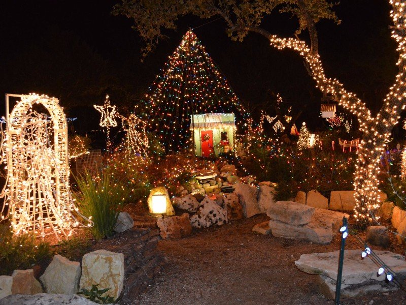 wimberley wimberley trails of lights at emilyann theatre gardens - Indoor Decorations Christmas Village
