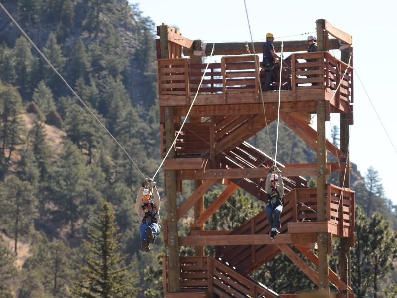 Zipline Above A River And Through A Canyon In Colorado