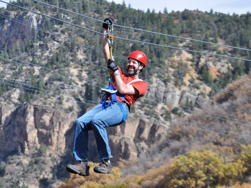 Zipline Above A River And Through A Canyon In Colorado