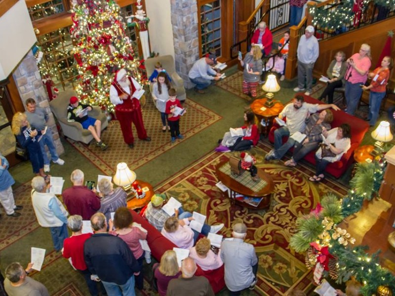 santa stops by to sing and tell stories on tuesday thursday and saturday nights