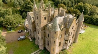Aerial view of Balintore Castle