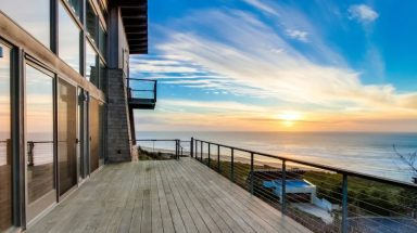 An ocean view from the balcony of this large luxury cabin on Oregon's coast.