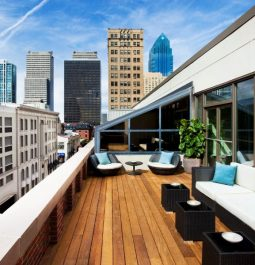 The rooftop balcony overlooks downtown Philadelphia at Rittenhouse Hotel