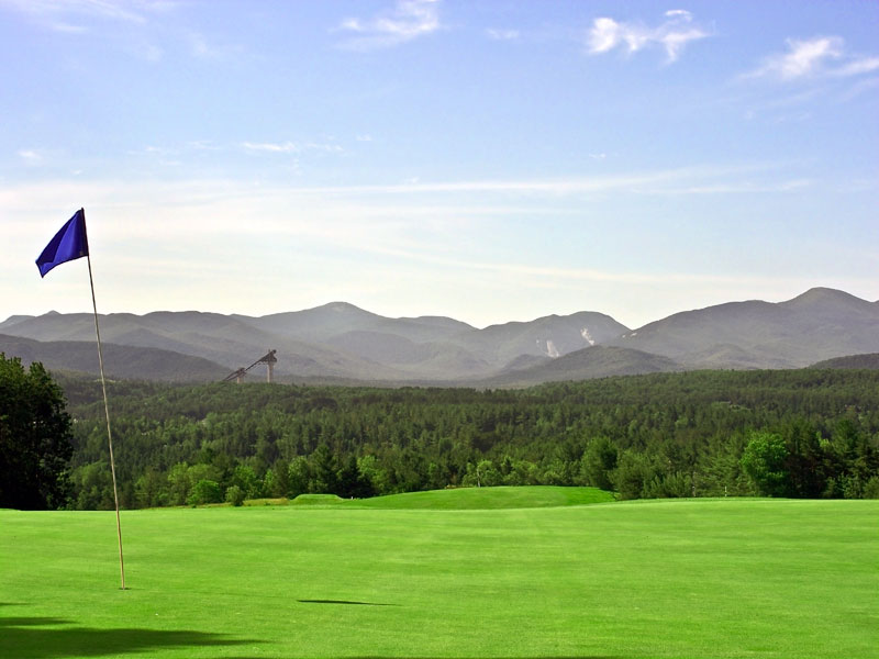 A view of the 18th Green Mountain Course at Crowne Plaza Lake Placid Resort