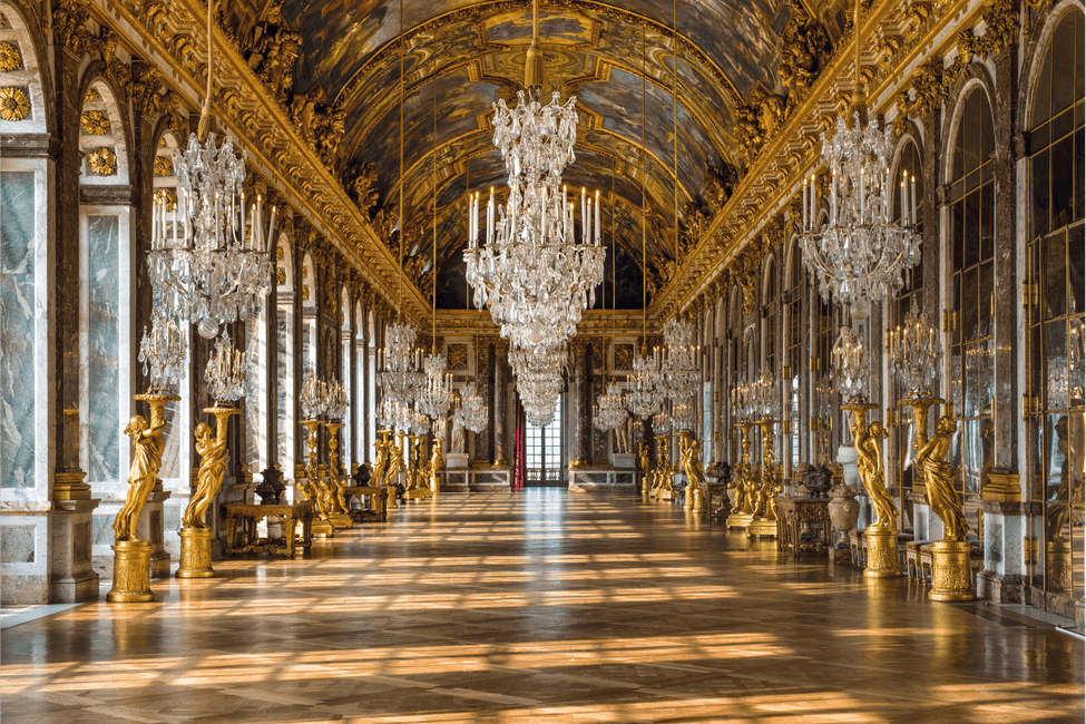 A view of the famous Hall of Mirrors at the Palace of Versailles