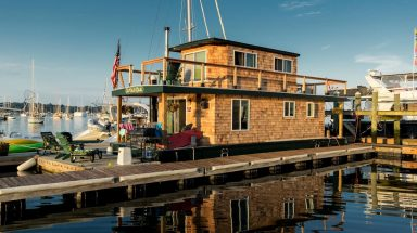 Exterior of houseboat on the water