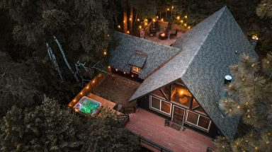 Aerial view looking down on cabin