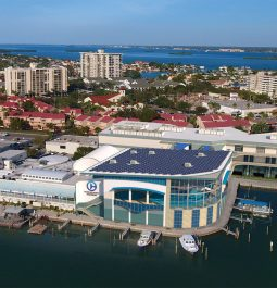 Aerial view of exterior of the newly renovated Clearwater Marine Aquarium in Florida