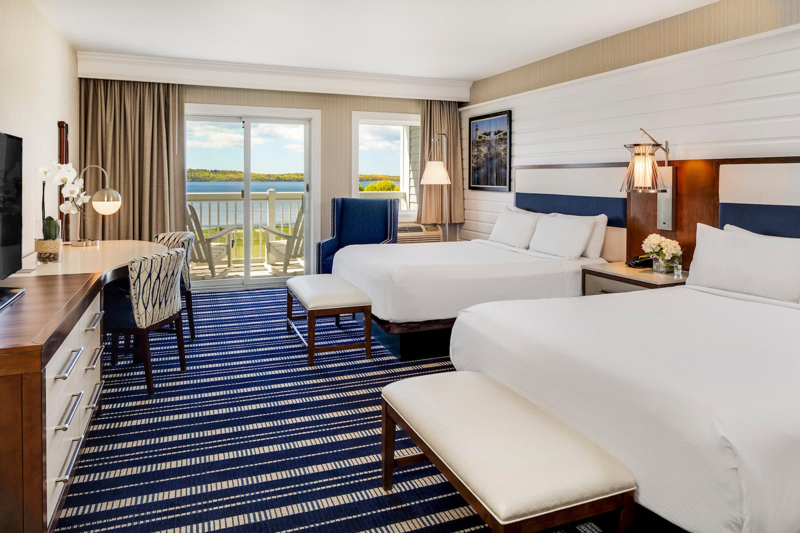 Interior of resort room at Samoset Resort, Maine