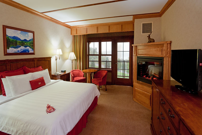 The Crowne Plaza Lake Placid's Deluxe King Lake View Room Adirondack Wing