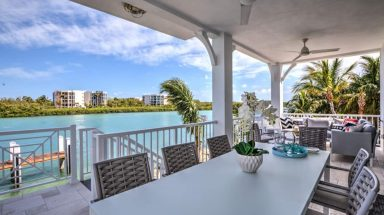 Back Patio and Bay View at Island Dreamz