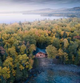 Aerial View of Lake and Trees Around Idyllic Cabin