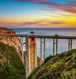 Bixby Bridge Rocky Creek Bridge and Pacific Coast Highway at sunset near Big Sur