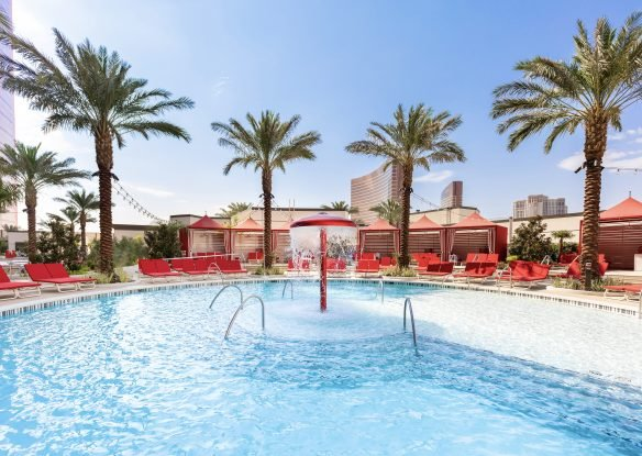 A view of the pool cabana at Resorts World Las Vegas