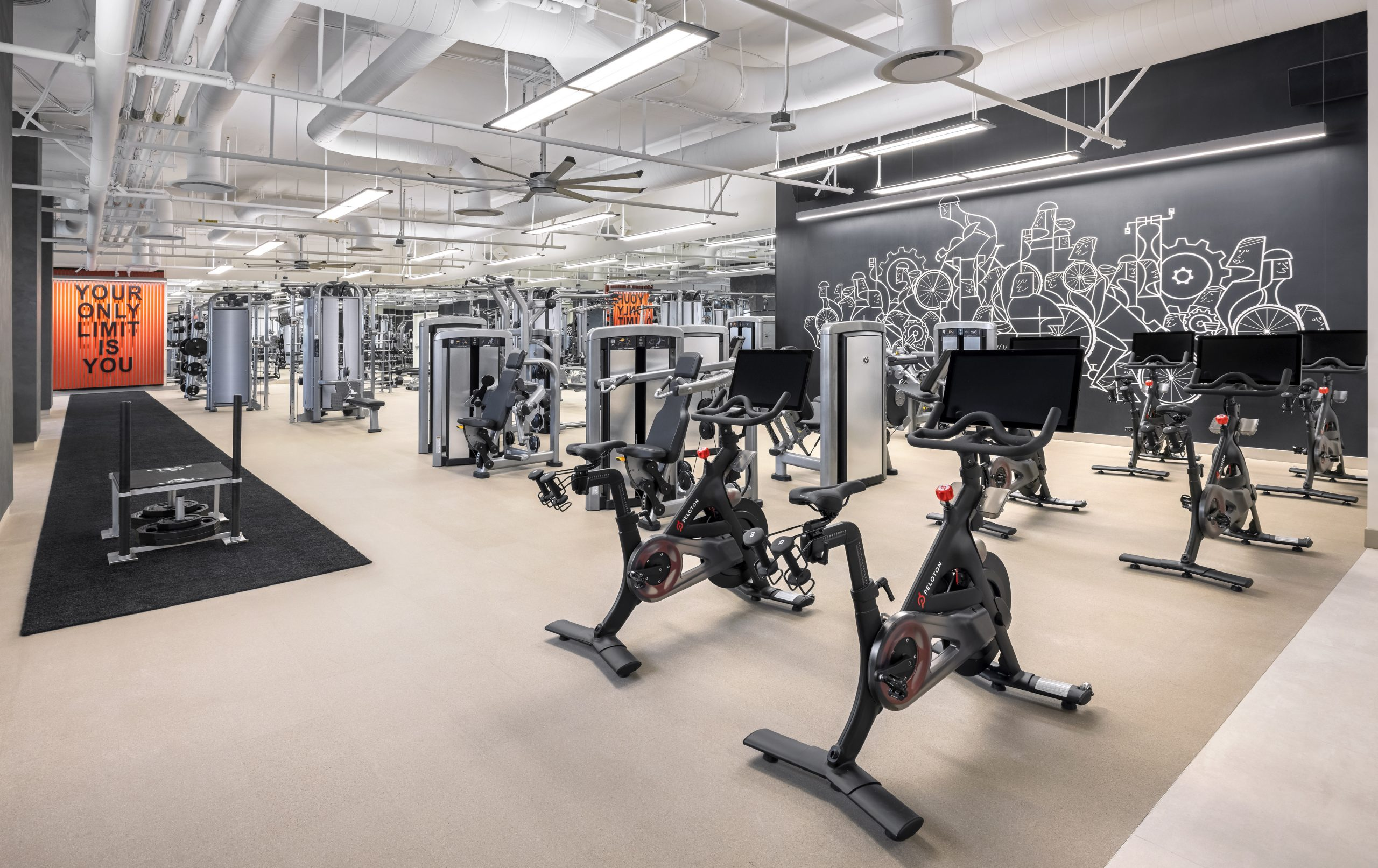 Fitness equipment set up in the fitness center at Resorts World Las Vegas