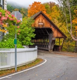 pretty street and covered bridge in Woodstock, Vermont