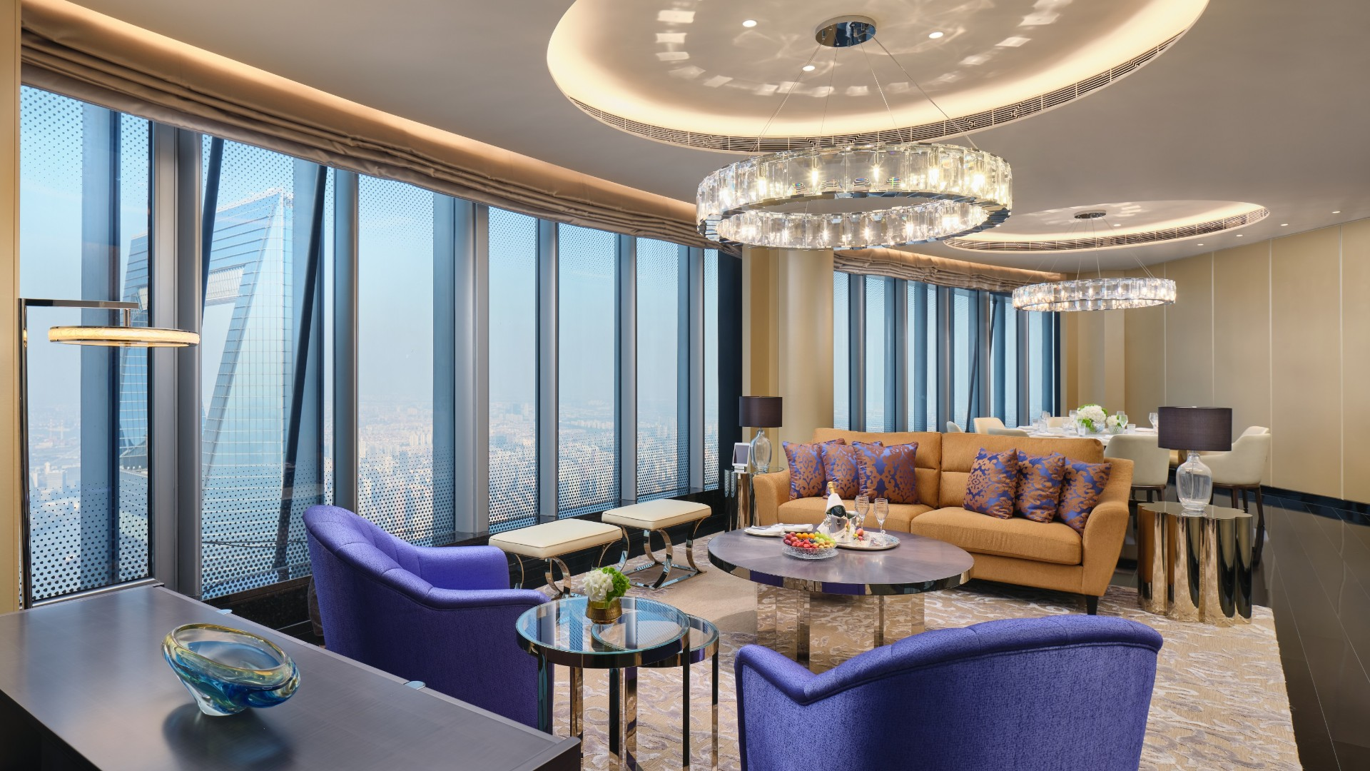 The grandeur of the decorations in the Jin Jiang Suite of the J Hotel Shanghai Tower is almost as stunning as the views.