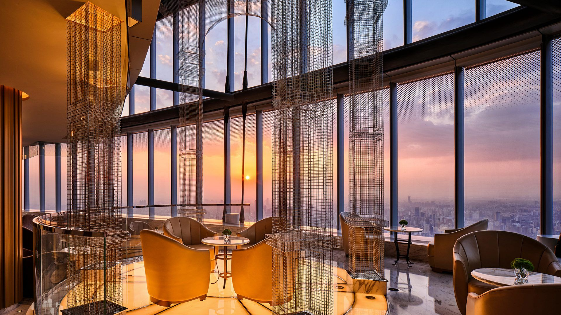 This restaurant has skyline views of Shanghai at the J Hotel