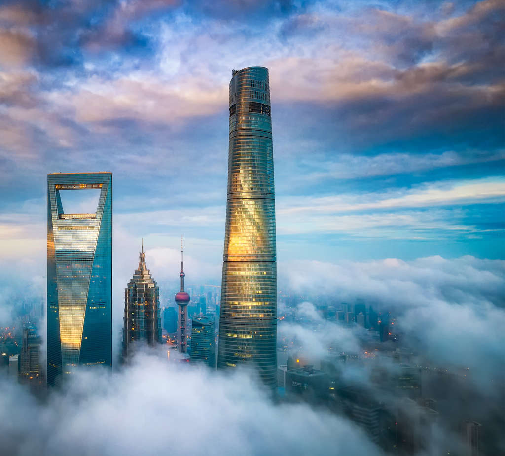 A skyline view of the Shanghai Tower, where the new J Hotel is located at the top of the skyscraper, which is the world's second-tallest building.