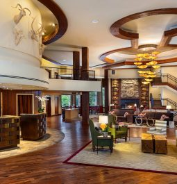 Elegant lobby with seating and high ceilings