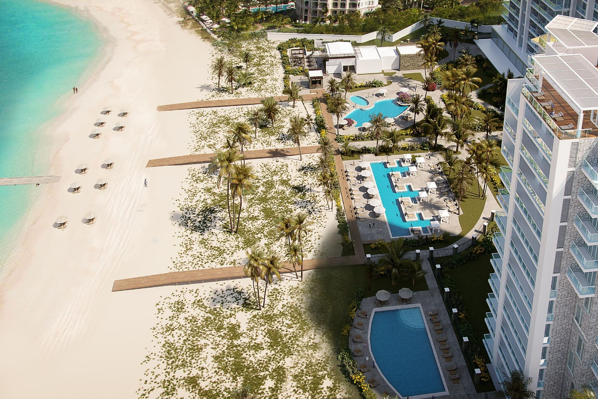Aerial view of pools and beaches at the new Ritz-Carlton Turks & Caicos resort