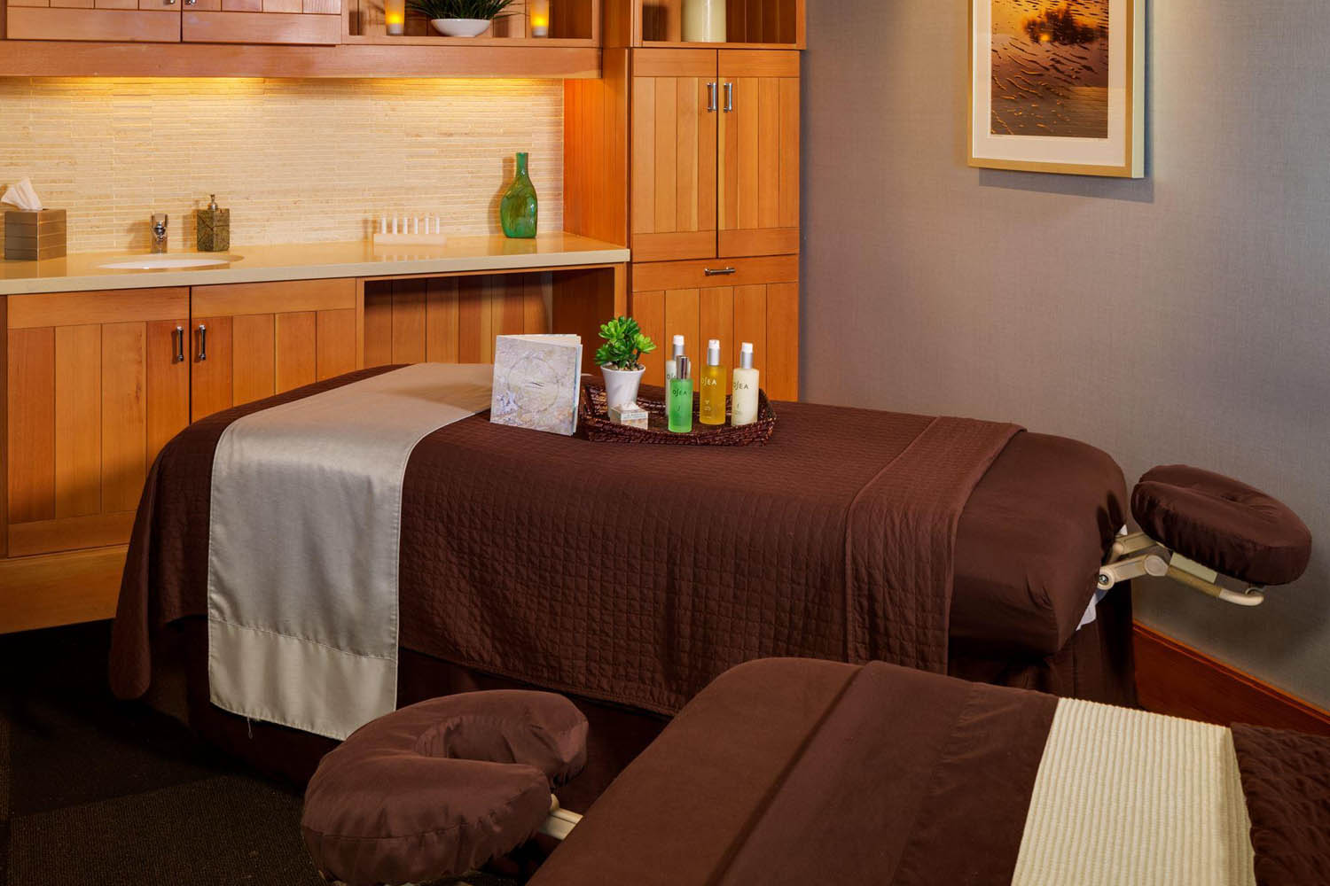 Massage table at the resort spa