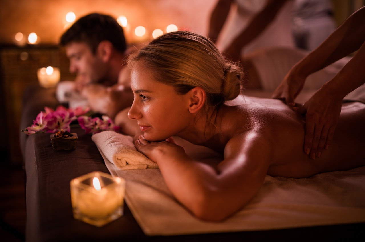 Couple getting massages at the spa