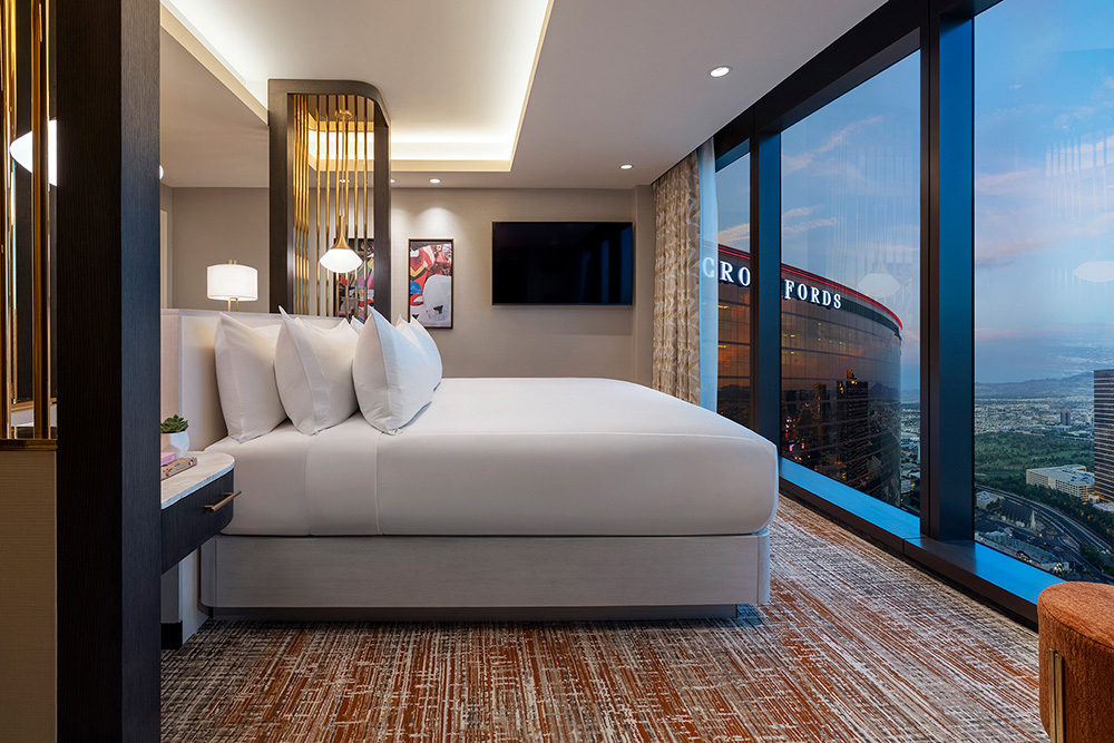 A guest room with a view of the Las Vegas Strip from the Las Vegas Hilton at Resorts World Las Vegas megaresort