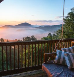 View of North Carolina mountains from cabin porch