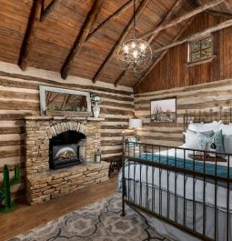interior with fireplace at Cactus Log Cabin