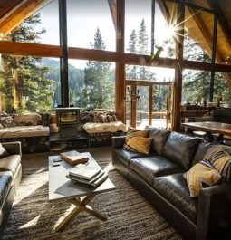 View out A-frame window into the forest