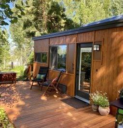 exterior of cabin facing nature views