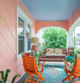 Patio seating in bright and fun colors