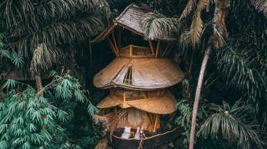 Moody shot of three storey Aura House in the middle of the jungle