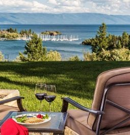 A lake view from the patio of a room at a Flathead Lake, Montana, bed and breakfast