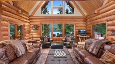 living room of cabin at Lakefront Lodge on Lake Swift