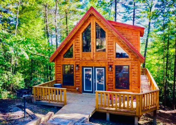 Front of cabin with deck