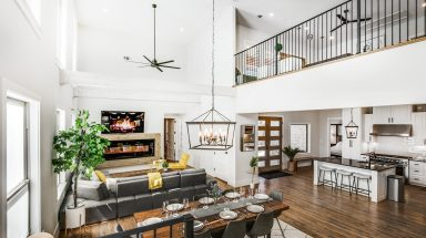 aerial view of modern living room