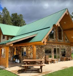 Exterior of cabin with outside seating