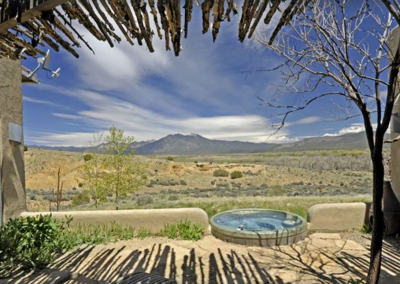 View out to hot tub and mountains