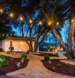 Fairy lights leading to the Vintage Ranch