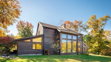 Woodstock Luxury Estate framed by fall foliage
