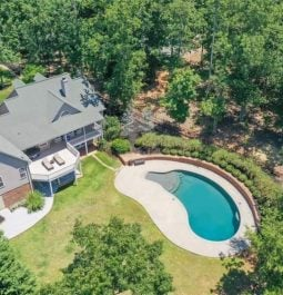 Lakehouse overview with oval pool